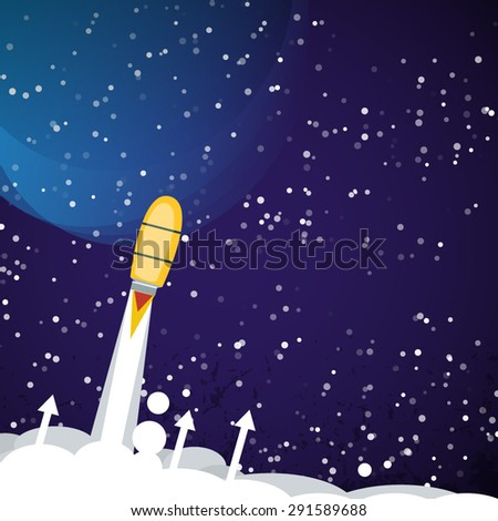 Space rocket flying in space with  stars on background print vector illustration - stock vector