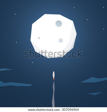 Space rocket flying to the moon. Startup business background. Low polygonal geometric shapes. Eps10 vector illustration. - stock vector