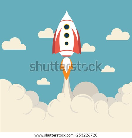 Space rocket flying top sky flat, vector illustration - stock vector
