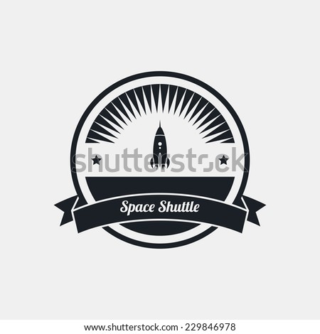 space rocket label art - stock vector
