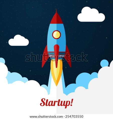 Space rocket launch. Concept for startups, releases etc. - stock vector