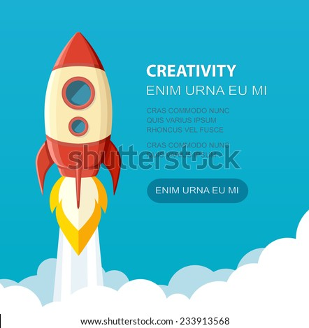 Space rocket launch. Start up concept flat style. Vector illustration. Can be used for presentation, web page, booklet, etc. - stock vector
