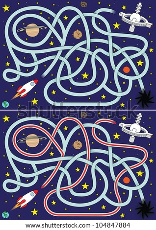 Space rocket maze for kids with a solution - stock vector