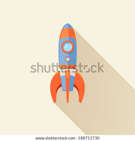 Space rocket ship start cartoon futuristic travel emblem with stars on background vector illustration - stock vector