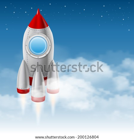 Space rocket takes off from the clouds to the starry sky. Vector illustration. - stock vector