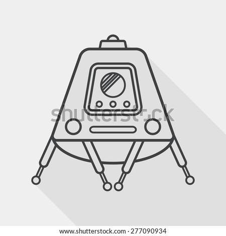 Space Rover flat icon with long shadow, line icon