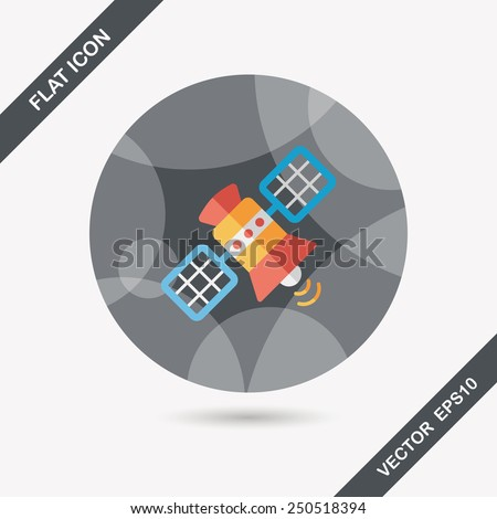 Space Satellite flat icon with long shadow,eps10 - stock vector