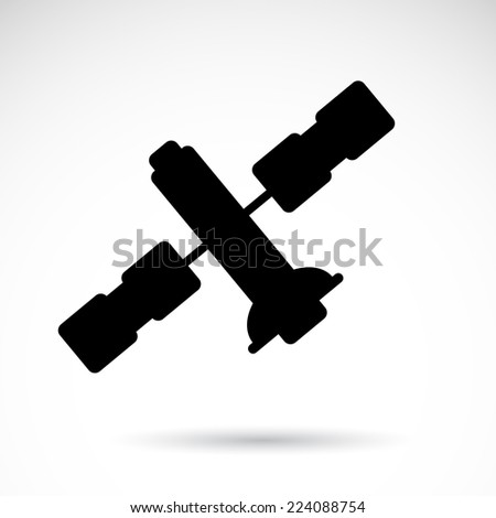 Space satellite icon isolated on white background. VECTOR art. - stock vector