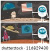 Space Scenes: Cartoon illustrations of the Moon Landing and Mars Landing.  No transparency and gradients used. - stock vector