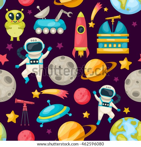 Space seamless background pattern with different inhabitants of space planets and tools vector illustration