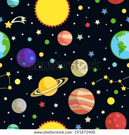 Space seamless pattern with planets stars comets and constellations on dark background vector illustration - stock vector