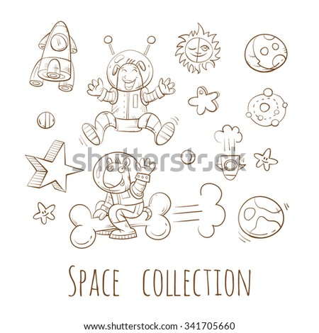Space set. Cartoon dogs  astronauts.  Vector doodle image.