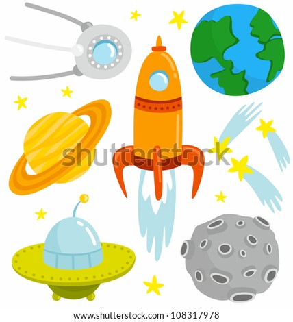 Space Set. Cartoon space set with vector elements. - stock vector