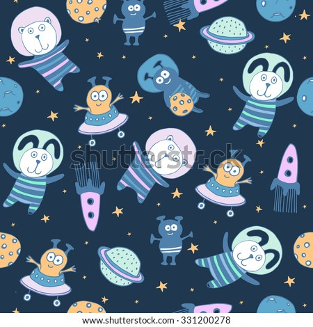 Space set of planets, orbits, rockets, satellite, stars, ufo, astronaut, apollo, comet, meteorite. Cosmos. Vector illustration. Cartoon icons. Cute animal and alien - stock vector