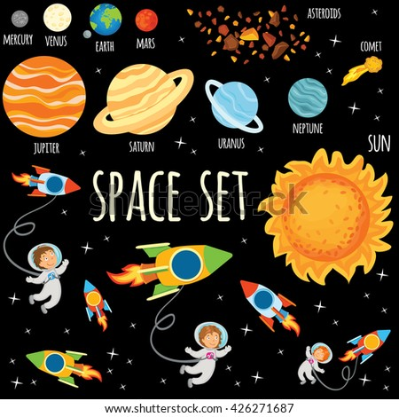 Space set. Planets of the Solar System.