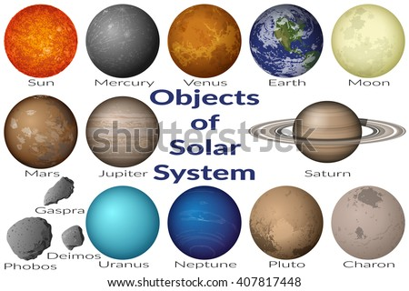 Space Set Planets Solar System, Sun, Earth, Moon, Venus, Mercury, Mars, Pluto, Charon, Phobos, Deimos, Gaspra, Neptune, Jupiter, Saturn and Uranus. Elements Furnished by NASA. Vector - stock vector