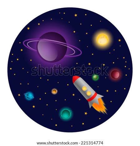 Space ship expedition illustration - stock vector
