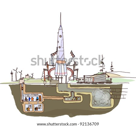 space ship launch illustration - stock vector