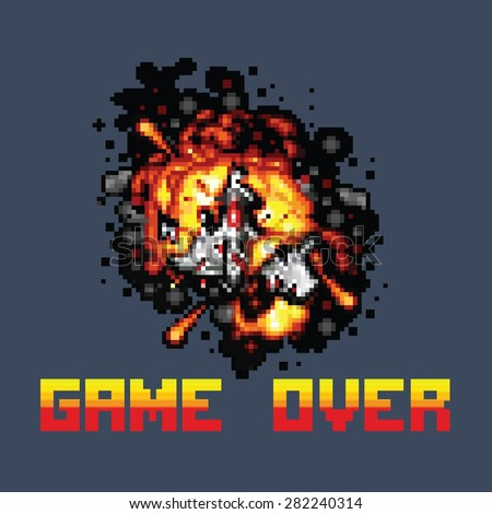 space ship on fire pixel game over message pixel art style retro illustration