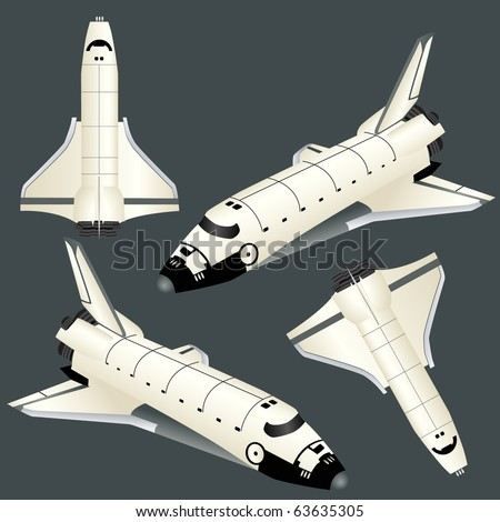 Space ship set isolated on white vector - stock vector