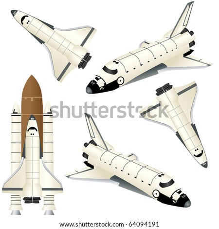 Space ships isolated on white vector - stock vector