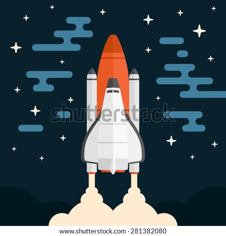 Space shuttle concept vehicle launch with abstract background - stock vector