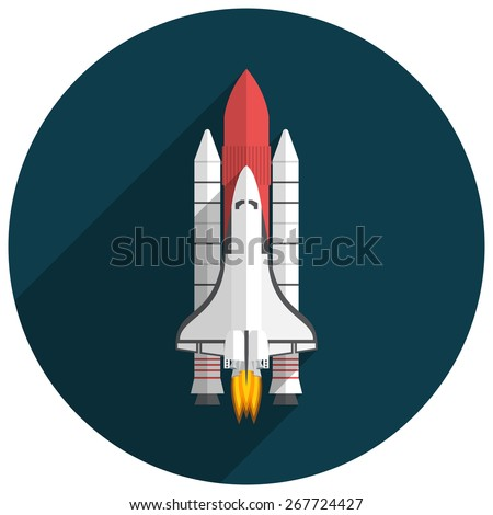 Space Shuttle, Flat design, vector illustration, long shadow