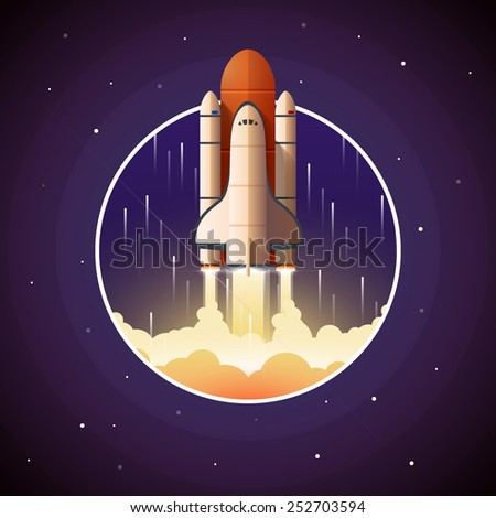 Space Shuttle Launch. Vector illustration with spaceship and space background - stock vector