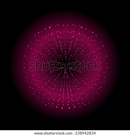 Space sparks spray shiny explosion. Magenta color salute. Vector clip art isolated on black - stock vector