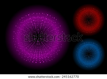 Space sparks spray shiny explosions set. Magenta, red, blue color. Vector clip art isolated on black - stock vector