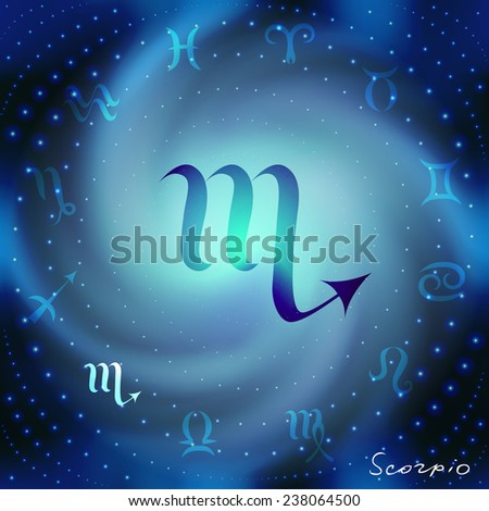 Space spiral with astrological Scorpio symbol in center. - stock vector