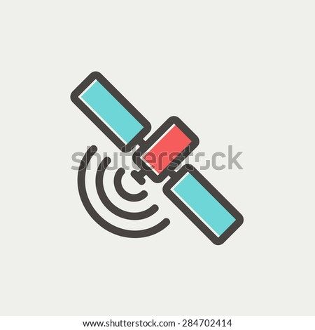 Space station icon thin line for web and mobile, modern minimalistic flat design. Vector icon with dark grey outline and offset colour on light grey background. - stock vector
