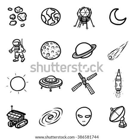 space technology objects or icons set/ cartoon vector and illustration, hand drawn style, black and white, isolated on white background.