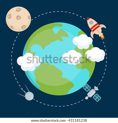 Space theme banners and cards with flat astronomic symbols of planets, rocket, moon, satellite for design, invitations and advertisement