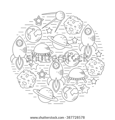 Space theme - set of line astronomic symbols of planets, rocket, stars, satellite, ufo. Vector illustration. Cosmos clipart objects - stock vector