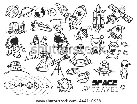 space themed doodle - stock vector