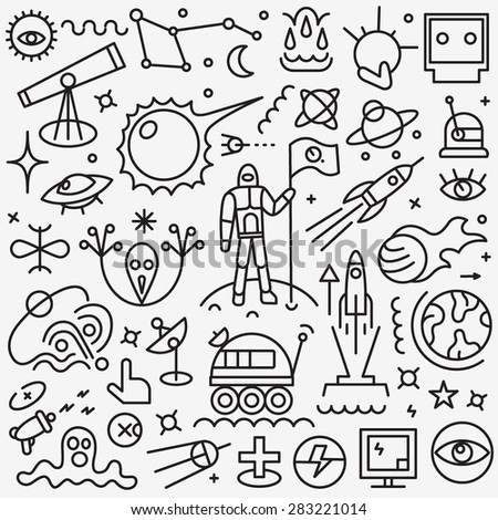 space thin line icons - stock vector