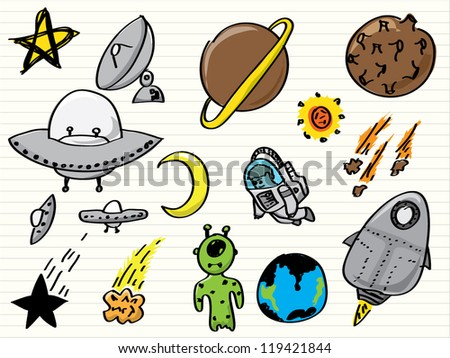 Space (UFO and aliens) doodles set