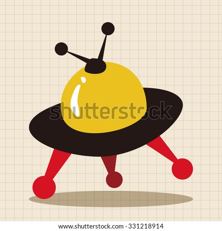 Space UFO flat icon elements background, eps10 - stock vector