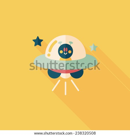Space UFO flat icon with long shadow, eps10 - stock vector