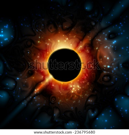 Space, Universe; Gravity in interstellar space; Super-massive black hole in the universe; Eps10; No Meshes - stock vector