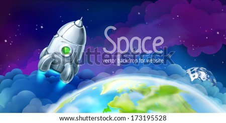 Space, vector background for website - stock vector