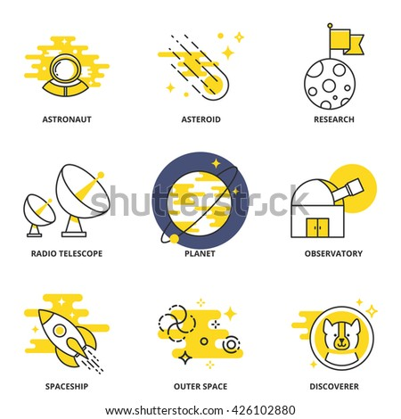 Space vector icons set: astronaut, asteroid, research, radio telescope, planet, observatory, spaceship, outer space, discoverer. Modern line style - stock vector