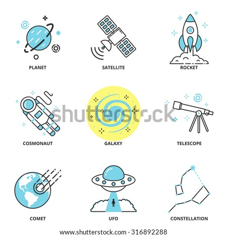 Space vector icons set: planet, satellite, rocket, cosmonaut, galaxy, telescope, comet, ufo, constellation. Modern line style - stock vector