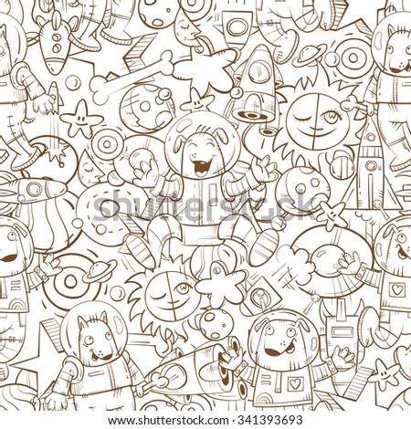 Space vector seamless pattern with cartoon dogs astronauts, rockets, stars and planets on  white background.