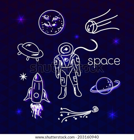 Space vector white objects line drawing in night sky