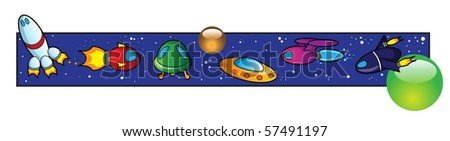 Space vehicle border - stock vector
