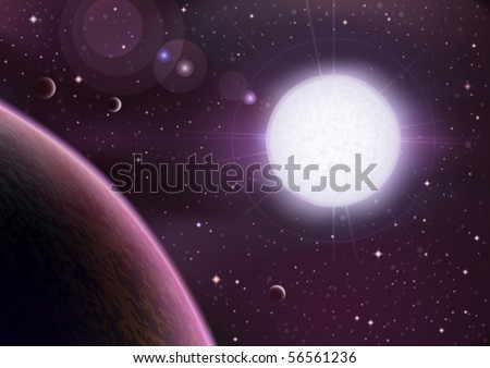 Space view with a big white star rising over a planet (AI-optimized EPS 8 file, space and starfield behind the planet are fully drawn, other space vectors are in my gallery) - stock vector