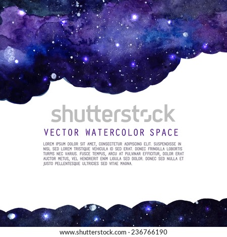 Space watercolor background with stars. Vector layout with copyspace.   - stock vector