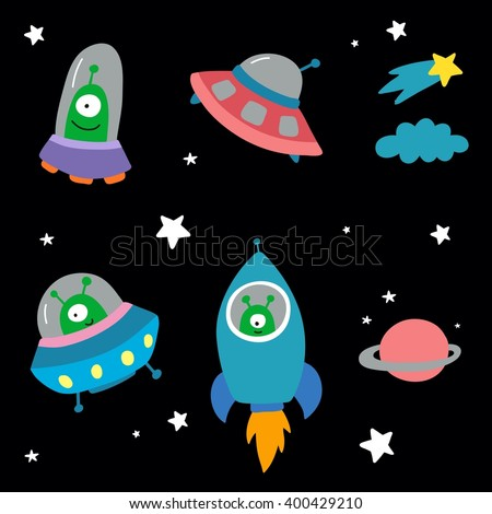 space with planets and spaceships vector pattern